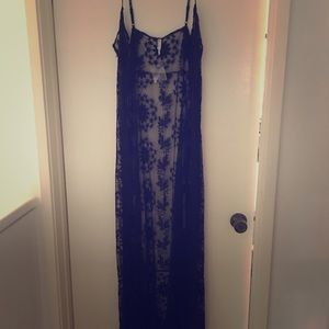 Free people intimate, black lace/embroidered